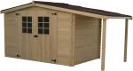 Abri Madriers bois massif avec bûcher / 28 mm / abri + bûcher : 9,49 m² / toiture plaques ondulées