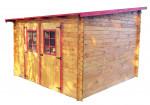 Abri Madriers bois massif toit mono pente multidirectionnel / 28 mm / 9,94 m²