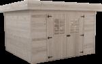Abri Madriers bois massif toit plat avec bac acier / 28 mm /  14,75 m²