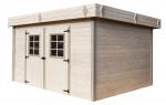 Abri Madriers bois massif toit plat avec bac acier / 28 mm / 16,77 m²