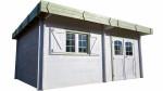 Abri Madriers bois massif avec double rainurage toit plat avec bac acier / 42 mm /  25,37 m²