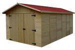 Garage Panneau bois massif / 16 mm / 15,60 m² / toiture plaques ondulée