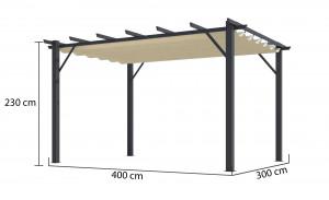 Pergola 100 % aluminium 12 m² - coloris écru