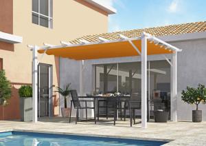 Pergola 100 % aluminium 12 m² - coloris rouille