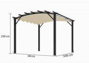 Pergola arche 11,22 m² - Toile écru
