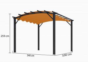 Pergola arche 11,22 m² - Toile rouille