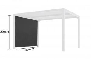 Rideau pour pergola bioclimatique - 3 m - gris