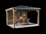 Pool house BLUETERM fabriqué en bois massif traité très haute température / 3,79x3,79 m / Une paroi avec ventelles