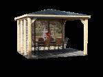 Pool house BLUETERM fabriqué en bois massif traité très haute température / 3,79x3,79 m / Deux parois avec ventelles